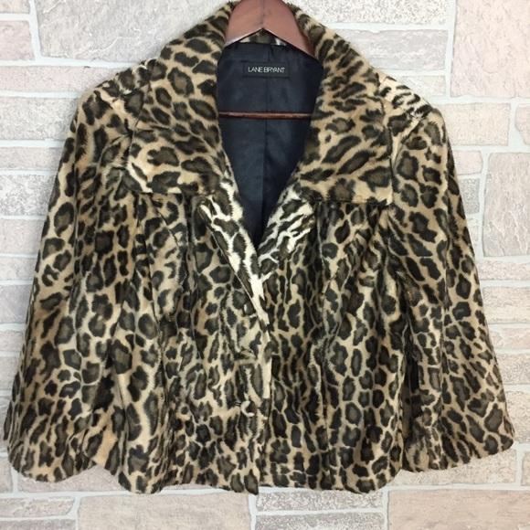 4b7cfb6b56d Lane Bryant Jackets   Blazers - Lane Bryant Faux Fur leopard print crop  Jacket